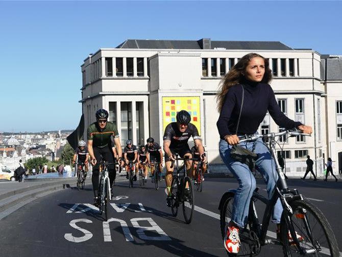 Car-Free Sunday event held in Brussels, Belgium