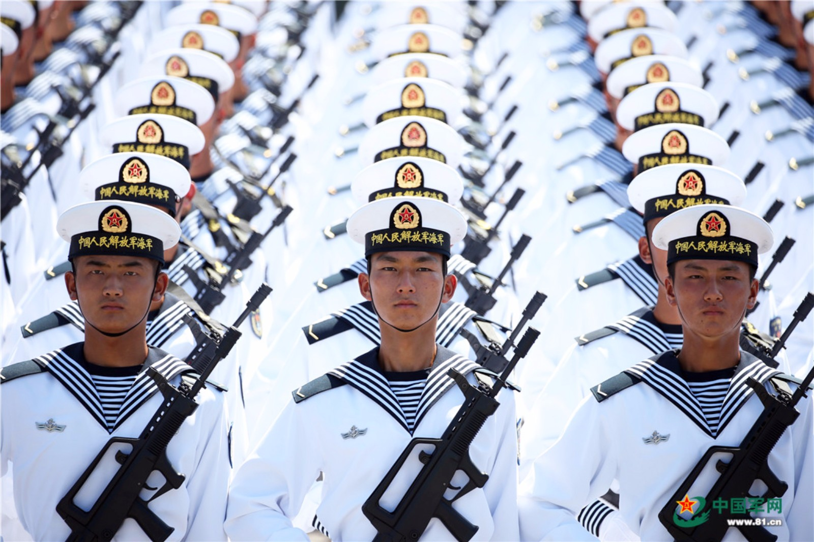 Navy members train for National Day military parade