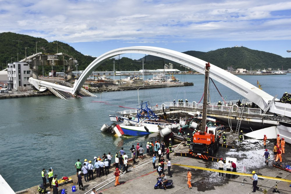 Six severely injured as bridge collapses in Taiwan