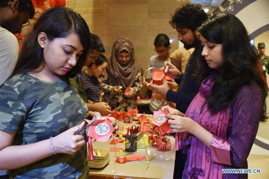 Students of Bangladesh's North South University celebrate China's 70th founding anniversary