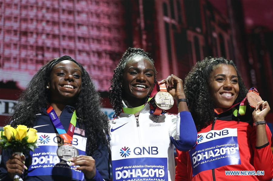 Medal ceremony of women's 200m at 2019 IAAF World Athletics Championships