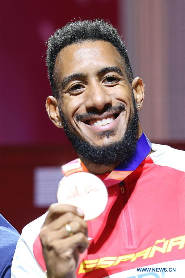 Medal ceremony of men's 110m at 2019 IAAF World Athletics Championships