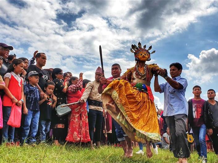 Nepalese people celebrate Shikali Jatra festival in Lalitpur