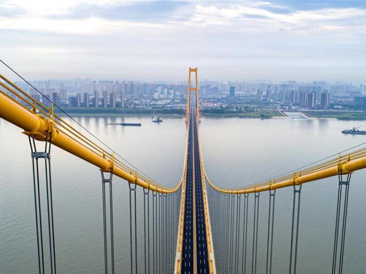 Yangsigang Yangtze River bridge in Wuhan