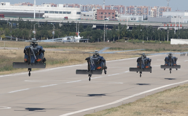 Helicopters exhibited in Tianjin