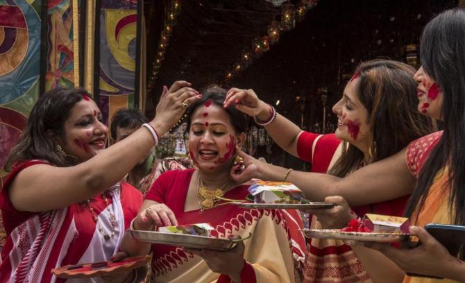 Durga Puja festival celebrated in Kolkata, India