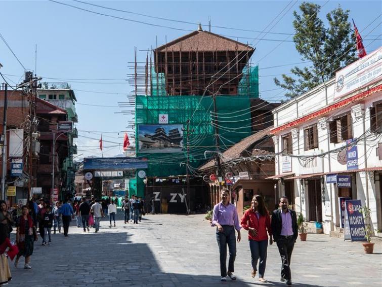 Chinese restoration team works at restoration site of Basantapur complex in Kathmandu