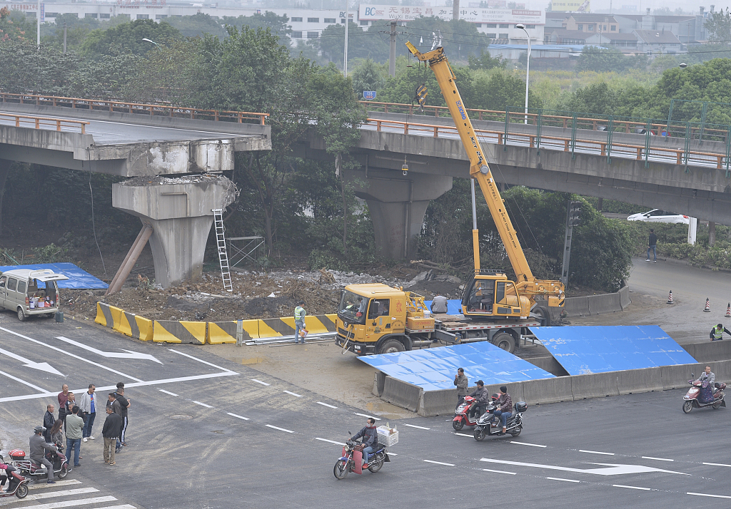 Chinese city probes highway overpass collapse accident