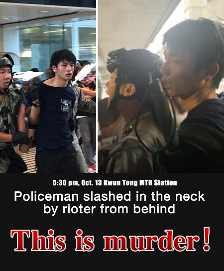 Rioters cut police officer's neck, two arrested as violence erupts again in Hong Kong