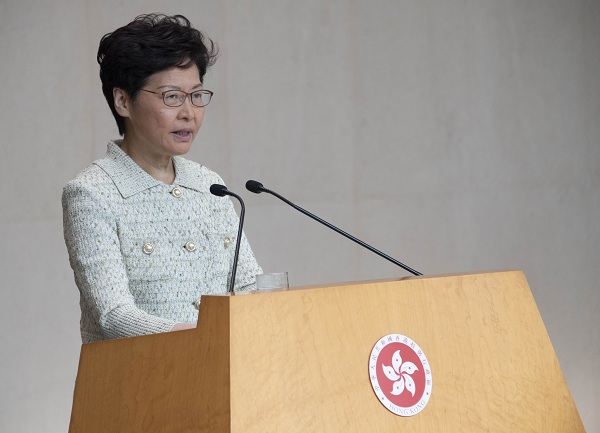 HKSAR chief executive stresses 'one country, two systems' in resolving impasse in Hong Kong
