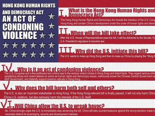 Poster: Hong Kong Human Rights and Democracy Act an act of condoning violence