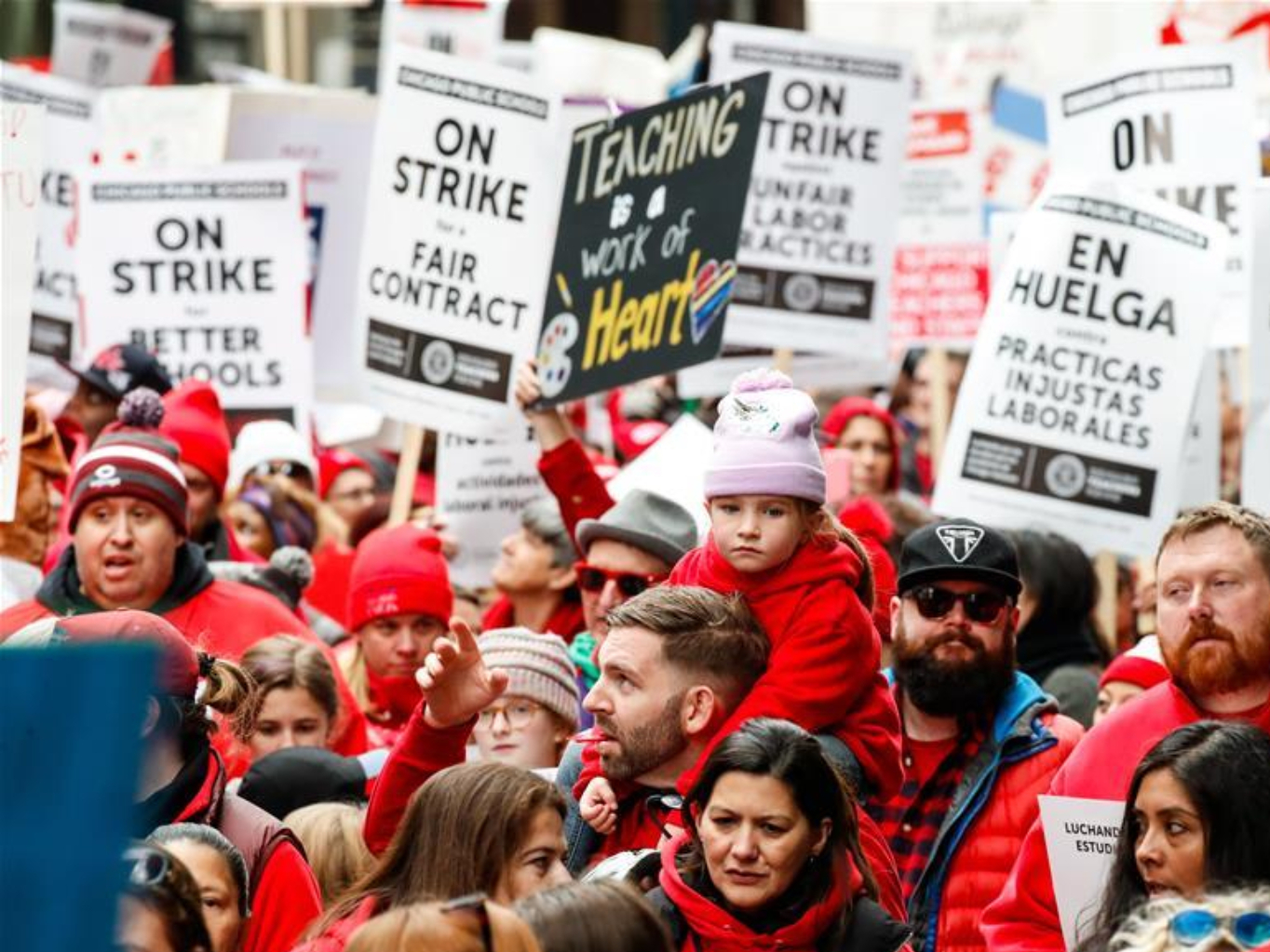 People take part in Chicago Teachers' Union strike rally