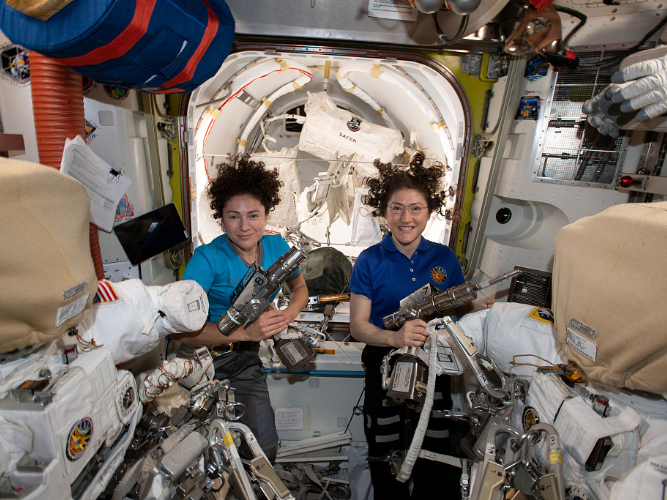 Two NASA astronauts complete first-ever all-female spacewalk