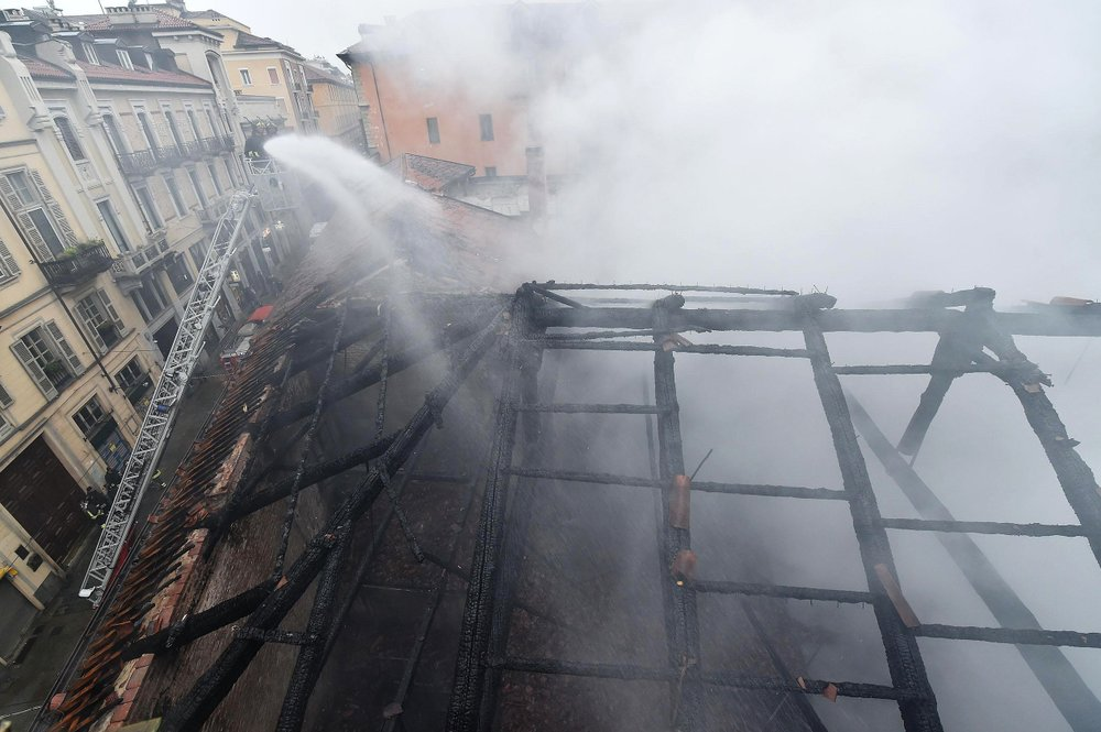 Fire hits UNESCO royal stables in Italian city of Turin