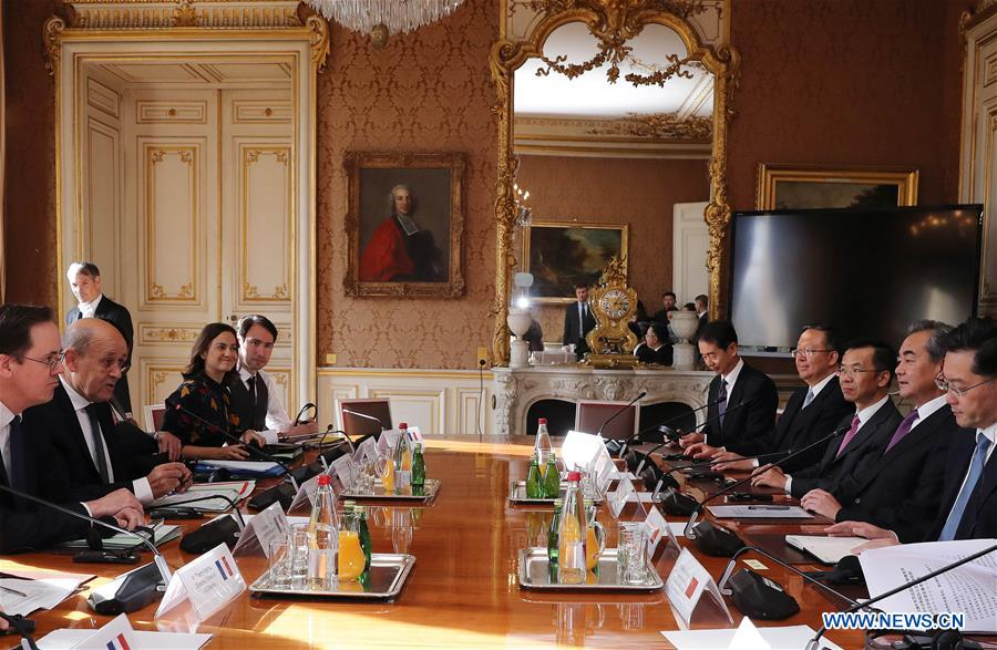 Chinese, French FMs meet on bilateral ties, cooperation on int'l affairs