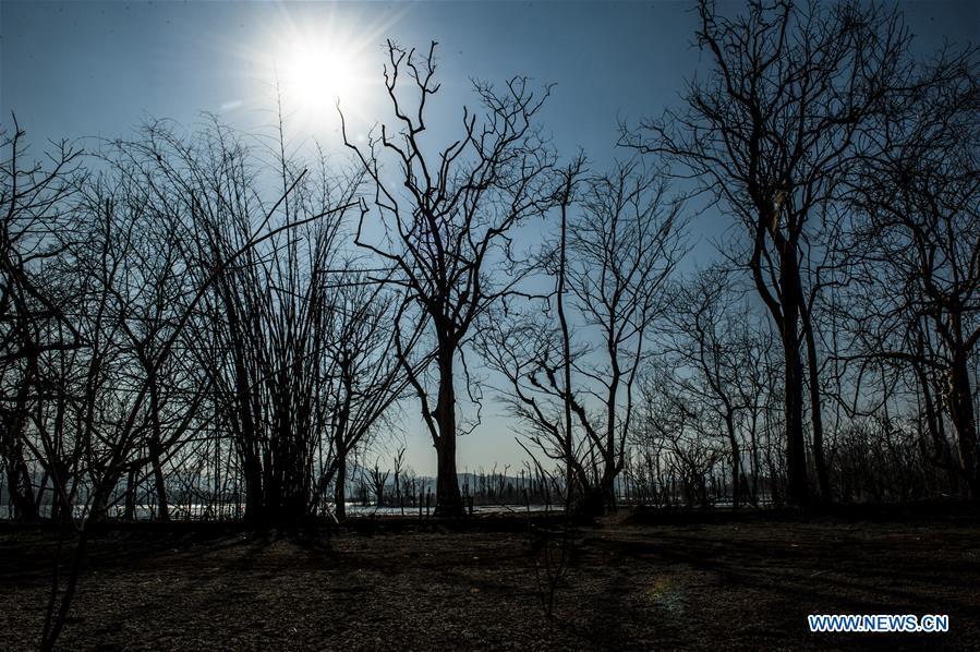 Jatigede Reservoir during dry season in West Java province, Indonesia