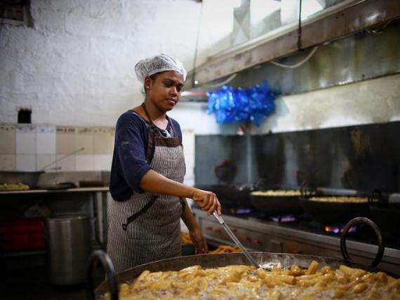 Workers prepare Tihar Festival in Kathmandu, Nepal