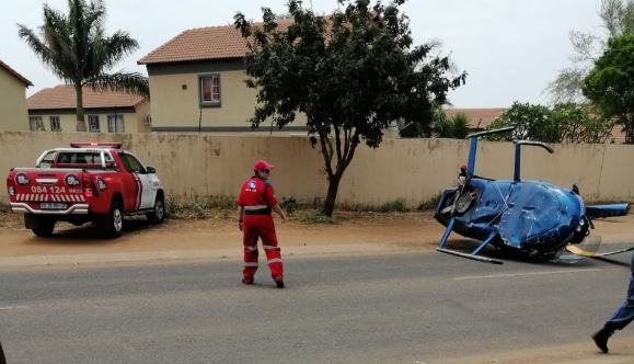 Three men escape unhurt after helicopter crash in South Africa