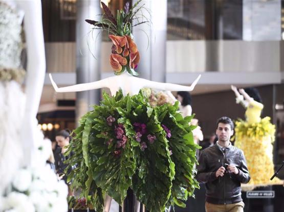 Floral dressed mannequins on show at Hudson Yards, New York