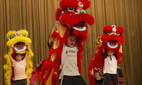 Roaring with lion dancers