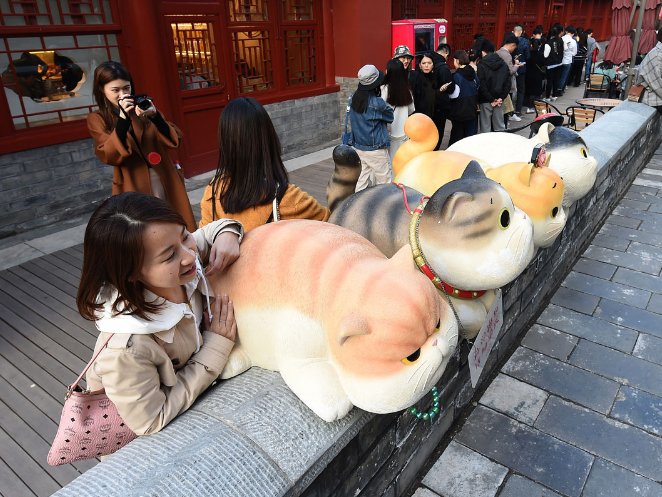 Royal cats statues catch the eyes of tourists in Beijing