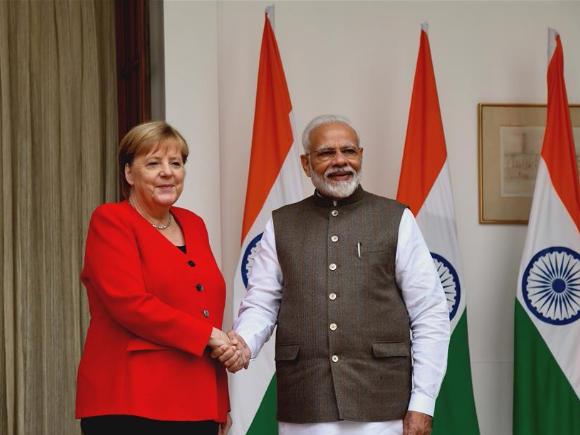 Modi meets with Merkel in New Delhi, India