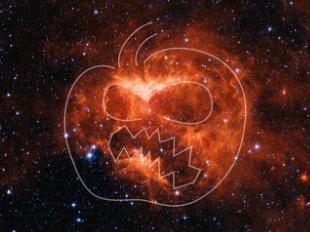 NASA space telescope snaps screaming jack-o'-lantern nebula at Halloween