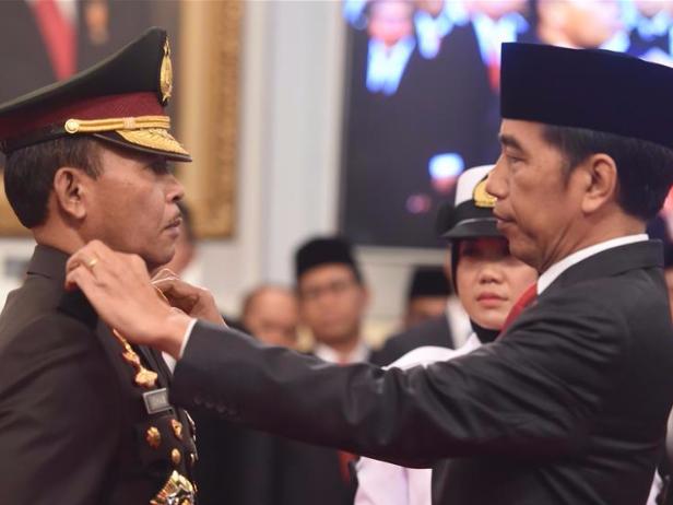 Indonesian president inaugurates new National Police Chief Idham Azis in Jakarta, Indonesia