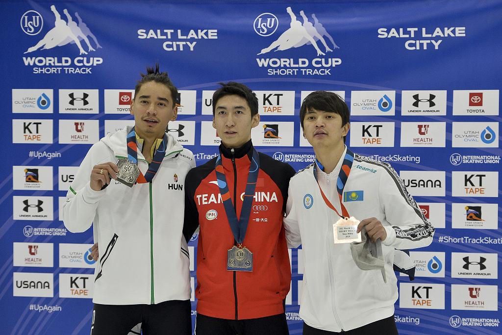 China's Wu Dajing win men's 500m gold at the Salt Lake City World Cup race