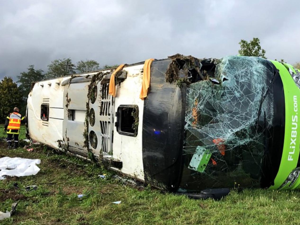 33 hurt as Paris-London bus overturns in France