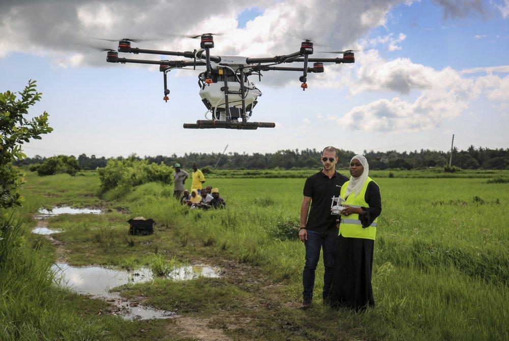 Zanzibar tests drones spraying rice fields to fight malaria
