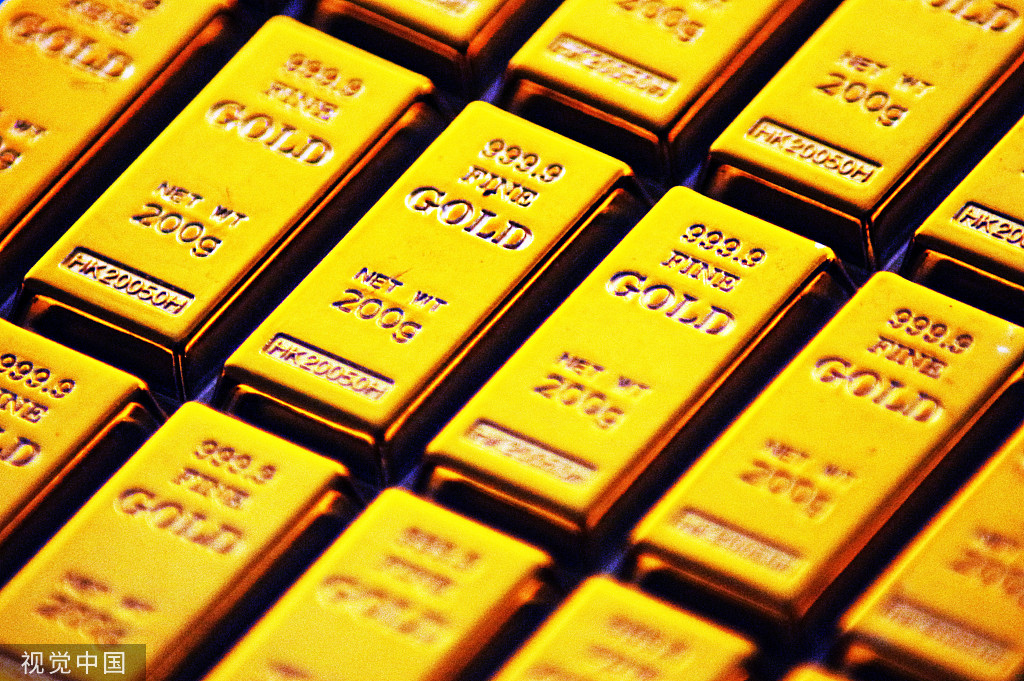 China's benchmark interbank gold prices lower Monday