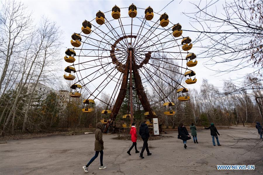 Views near Chernobyl nuclear power plant in Ukraine