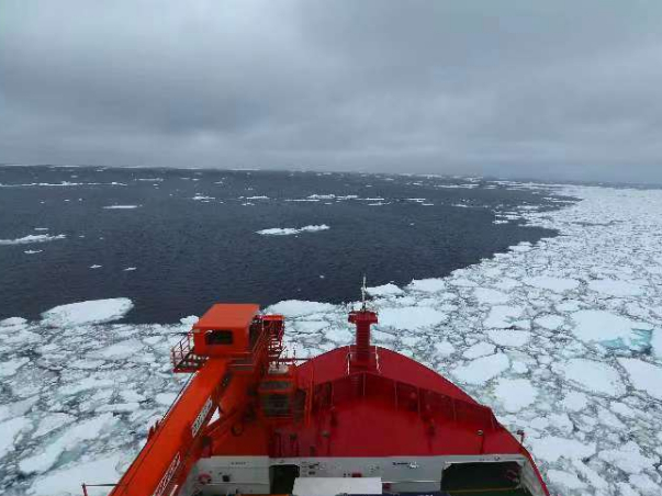 China's polar icebreaker Xuelong 2 enters floating ice area in Southern Ocean