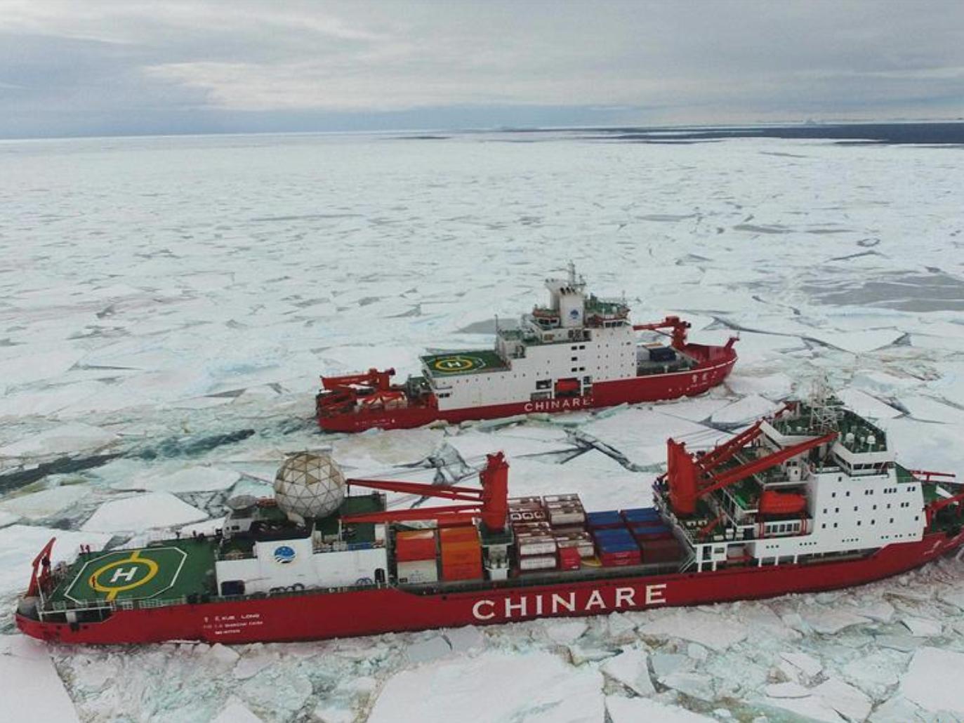 China's polar icebreakers sail at new broken-through path in Antarctica