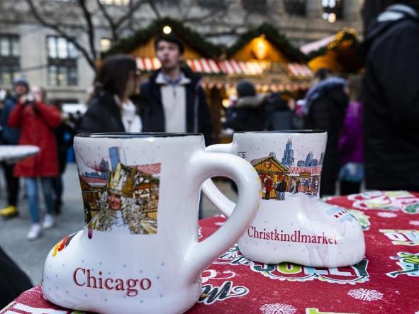 People enjoy Christkindlmarket in Chicago, US