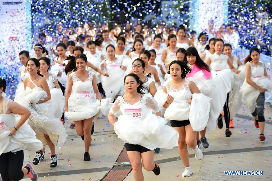 """""""EAZY Running of the Brides 8"""" running contest held in Bangkok, Thailand"""