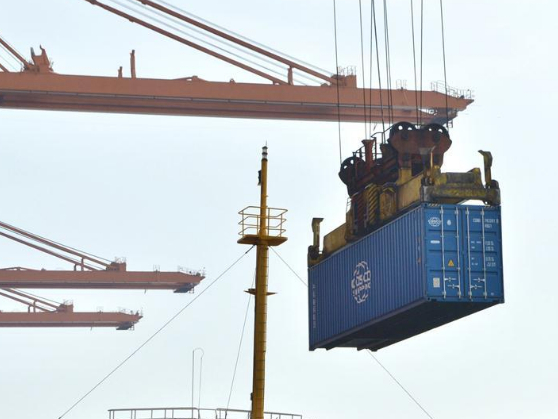 View of container terminal at Qinzhou Port in south China's Guangxi