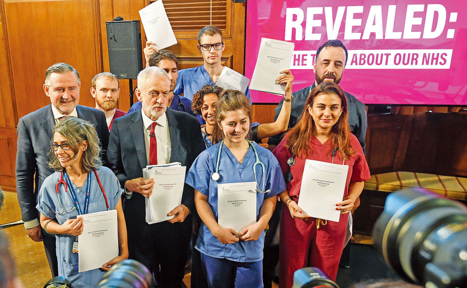 UK's Corbyn claims Conservatives plan to ruin health service