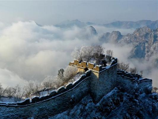 Snow scenery of Jiankou Great Wall in Huairou District of Beijing