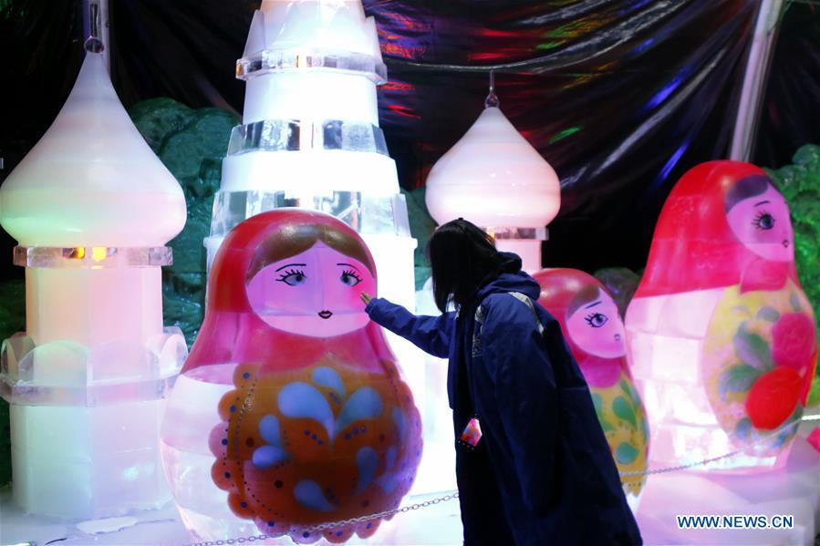 Ice sculpture exhibition held in Galveston of Texas