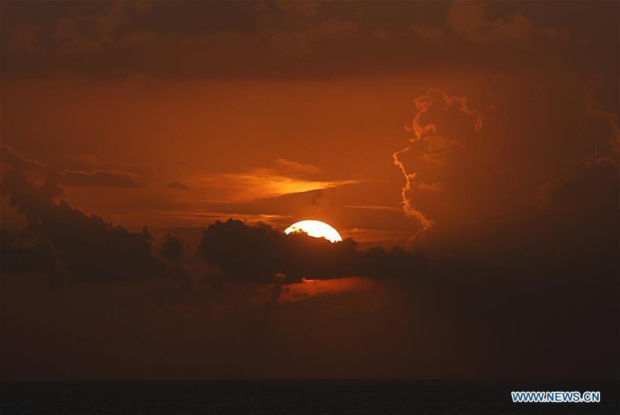 Sunset scenery on seashore of Beirut, Lebanon