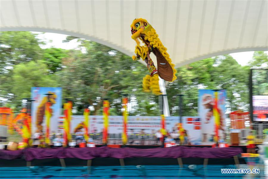 First Int'l Water Stilt Lion Dance Championship held in Malaysia