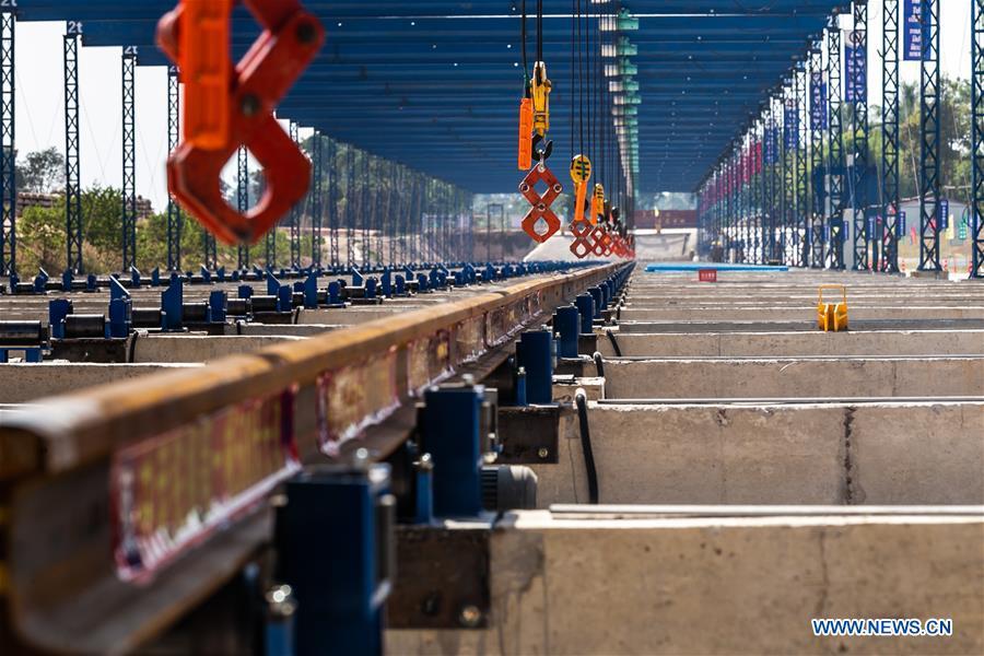 China-Laos railway rail-welding yard put into operation