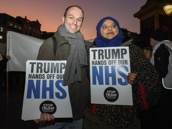 """People take part in """"No to Trump - No to NATO"""" demonstration in London"""