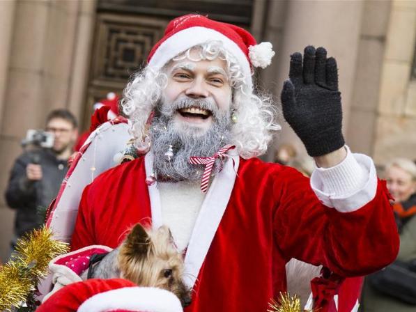 People participate in 12th Santa's Fun Run in Riga, Latvia