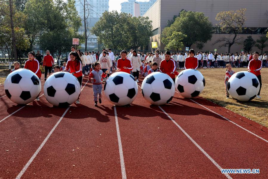 Football themed activity held at kindergarten in Zhejiang