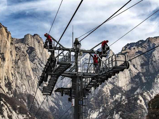 Annual maintenance carried out at Taihua cableway for Mount Huashan