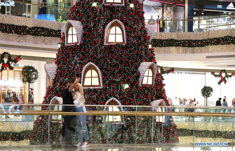 Christmas trees displayed to celebrate upcoming holiday season in Turkey