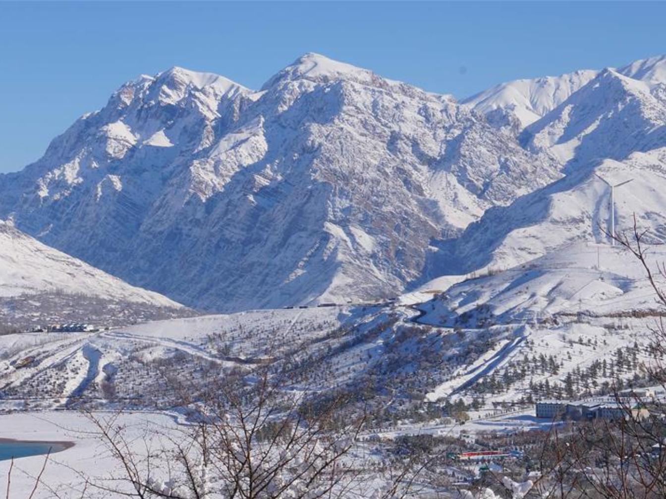 Winter view of mountainous area nearby Tashkent, Uzbekistan